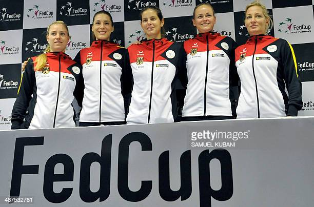 Germany's Fed cup team Angelique Kerber Andrea Petkovic Julia Georges AnnaLena Gronefeld captain Barbara Rittner pose after official match draw in...