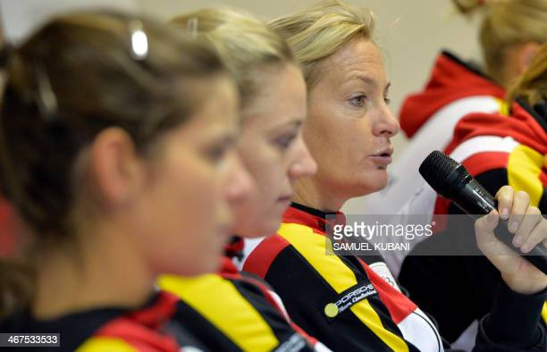 Germany's Fed Cup team captain Barbara Rittner answers journalist question after official match draw in Bratislava on February 7 2014 before the Fed...
