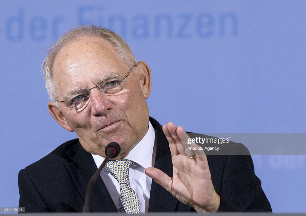 Germany's Federal Minister of Finance Wolfgang Schaeuble gestures during a press conference for members of the foreign correspondent's club (VAP) at the finance ministry in Berlin, Germany on May 26, 2016.