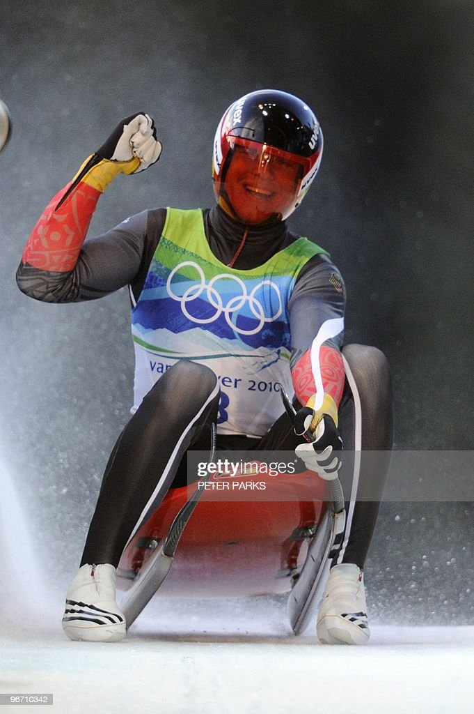 Germany's Felix Loch reacts after a run in the men's Luge singles at the Whistler Sliding Centre on February 14, 2010 during the Vancouver Winter Olympics. Loch won Winter Olympics gold in the men's singles luge.
