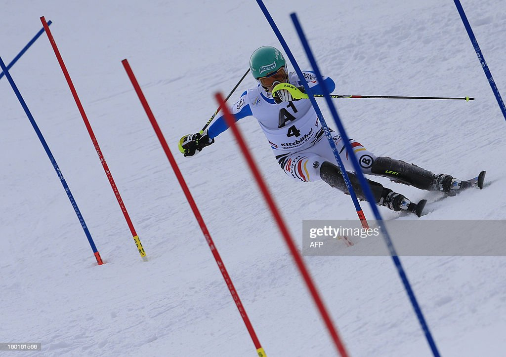 Germany's Felix Neureuther competes at the FIS World Cup men's slalom race on January 27, 2013 in Kitzbuehel, Austrian Alps. Austrian Marcel Hirscher won the race, German Felix Neureuther placed second and Croatian Ivica Kostelic placed third.