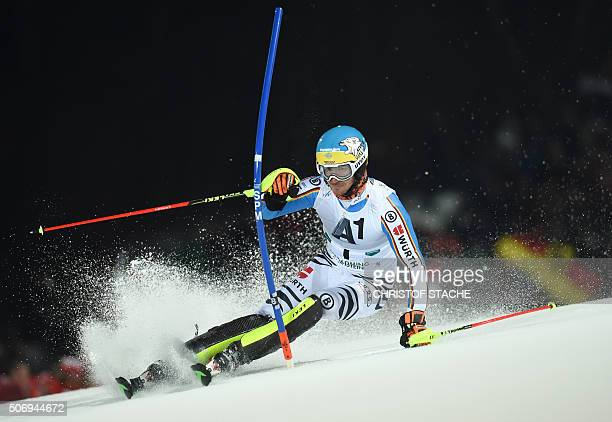 Germany's Felix Neureuther competes during the FIS Alpine Ski World Cup Men's nightrace Slalom first race on January 26 in Schladming Austria / AFP /...