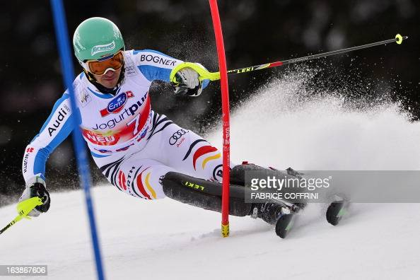 Germany's Felix Neureuther competes during the Men Slalom race at the Alpine ski World Cup finals on March 17 2013 in Lenzerheide AFP PHOTO / FABRICE...