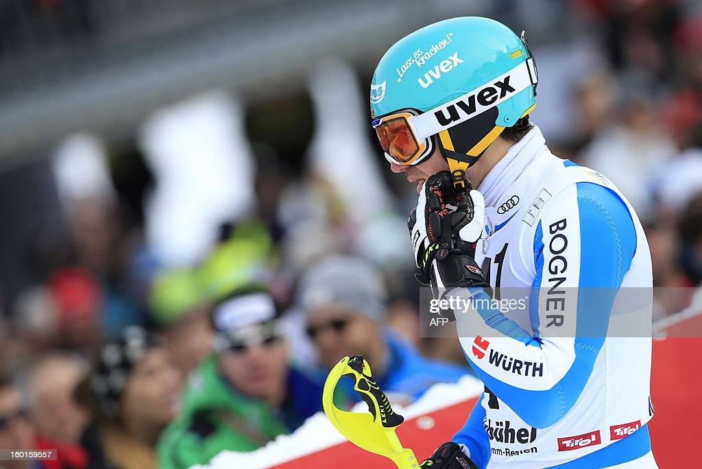 Germany's Felix Neureuther reacts after competing at the second run of the FIS World Cup men's slalom race on January 27, 2013 in Kitzbuehel, Austrian Alps. Austrian Marcel Hirscher won the race, German Felix Neureuther placed second and Croatian Ivica Kostelic placed third.