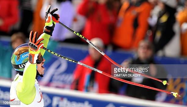 Germany's Felix Neureuther reacts after finishing the FIS World Cup Men's SuperCombined event in Bansko on February 26 2011 Neureuther took the...