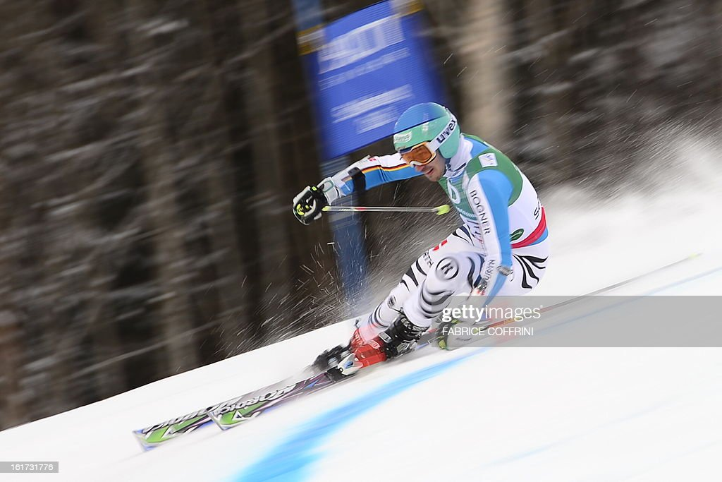 Germany's Felix Neureuther skis during the first run of the men's Giant slalom at the 2013 Ski World Championships in Schladming, Austria on February 15, 2013.