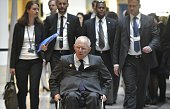 Germany's Finance Minister Wolfgang Schäuble arrives for a G20 Finance Ministers and Central Bank Governors Meeting during the annual International...