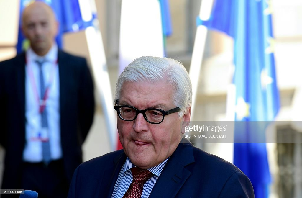 Germany's Foreign minister Frank-Walter Steinmeier addresses journalists before welcoming EU founding states' Foreign Ministers to hold post-Brexit talks at the Villa Borsig in Berlin on June 25, 2016. Foreign ministers of the six founding members of the European project meet to discuss the bloc's future in the wake of Britain's decision to leave. / AFP / John MACDOUGALL