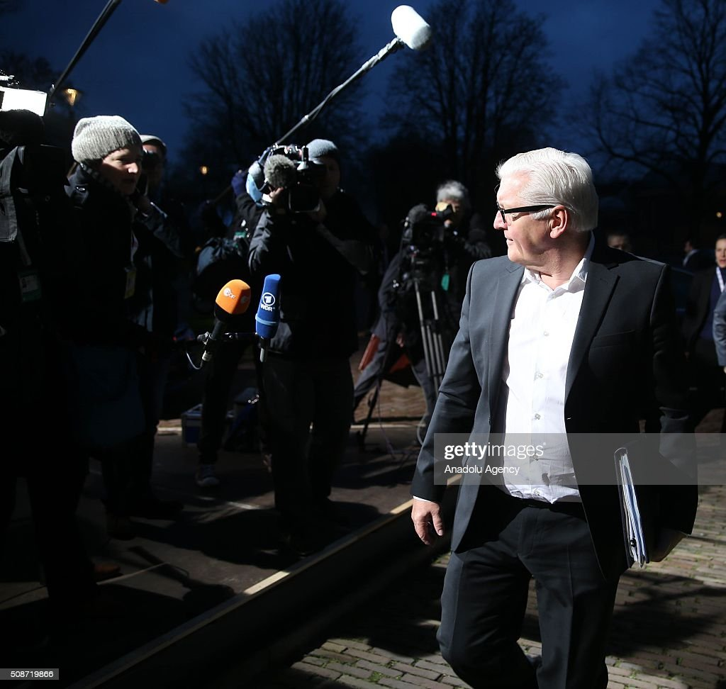 Germany's Foreign Minister Frank-Walter Steinmeier arrives to take part in Informal Gymnich meeting of EU foreign ministers in Amsterdam, Netherlands on February 6, 2016.