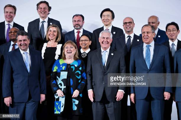 Germany's Foreign Minister Sigmar Gabriel Argentina's Foreign Minister Susana Malcorra US Secretary of State Rex Tillerson and Russia's Foreign...