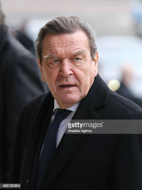 Germany's former Chancellor Gerhard Schroder arrives Berlin Cathedral for the funeral ceremony of the former president Richard von Weizsaecker in...