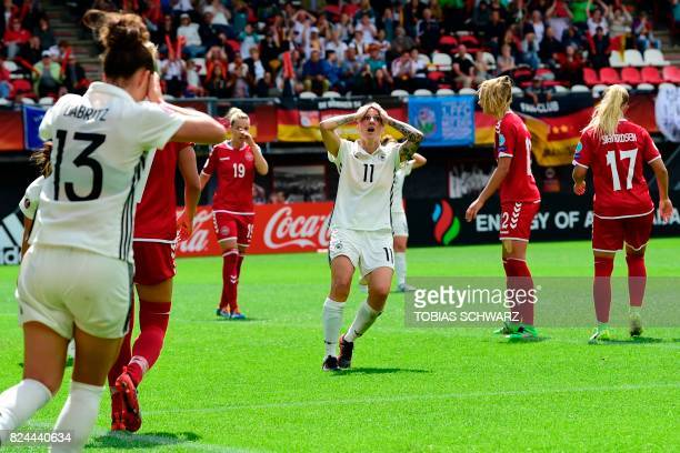 Germany's forward Anja Mittag reacts during the quarter final match of the UEFA Women's Euro 2017 football tournament between Germany and Denmark at...