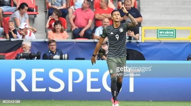 Germany's forward Davie Selke celebrates opening goal during the UEFA U21 European Championship football semi final match England v Germany in Tychy...