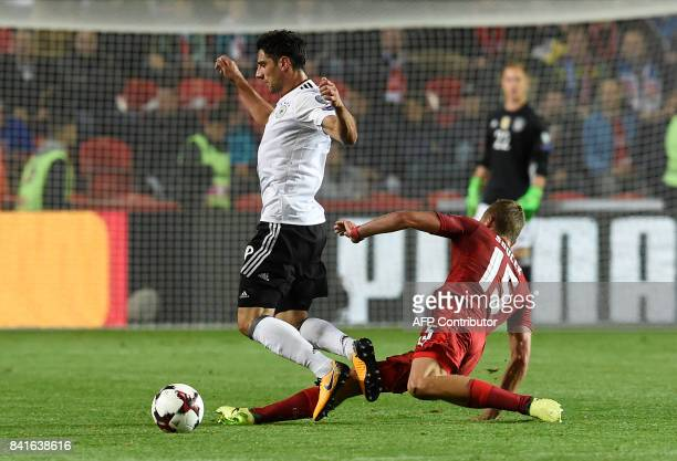 Germany's forward Lars Stindl and Czech Republic's Tomas Soucek vie for the ball during the FIFA World Cup 2018 qualification football match between...