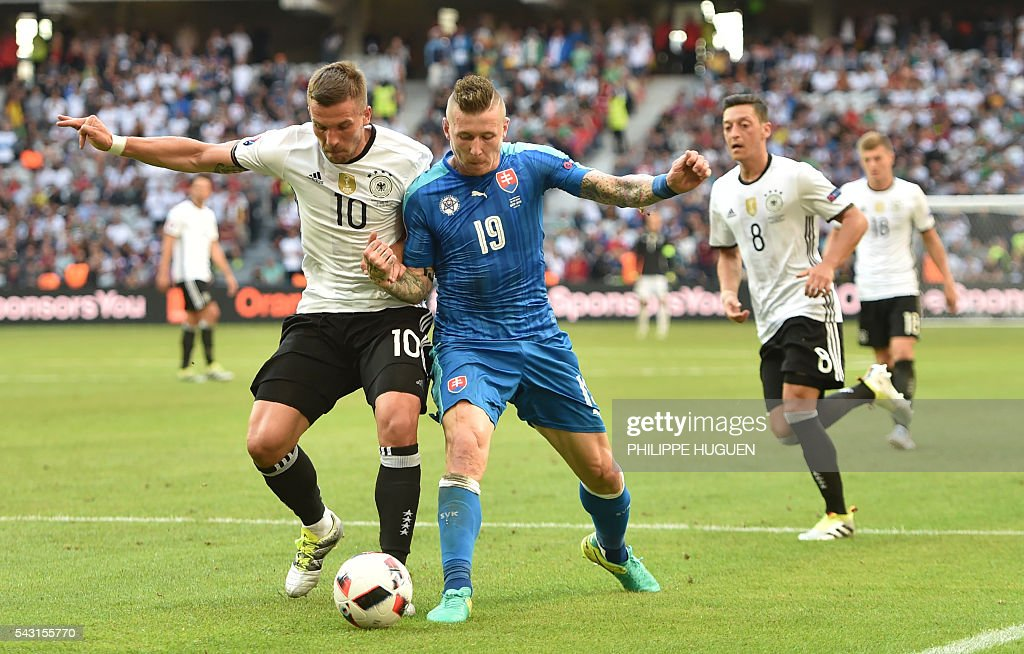 Germany's forward Lukas Podolski (L) vies with Slovakia's midfielder Juraj Kucka during the Euro 2016 round of 16 football match between Germany and Slovakia at the Pierre-Mauroy stadium in Villeneuve-d'Ascq, near Lille, on June 26, 2016. / AFP / PHILIPPE