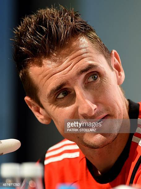 Germany's forward Miroslav Klose answers questions during a press conference in Santo Andre on July 10 during the 2014 FIFA Football World Cup...