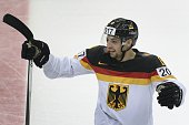 Germany's forward Thomas Oppenheimer celebrates a 21 penalty shootout series victory after scoring a derisive goal during group B game Kazakhstan vs...