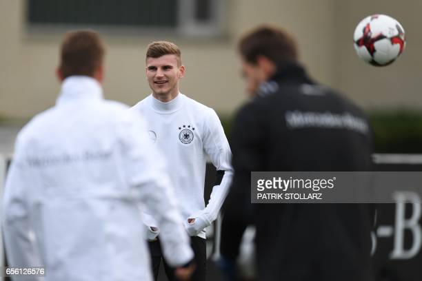 CORRECTION Germany's forward Timo Werner attends a training session in Dortmund western Germany on March 21 on the eve of the friendly football match...