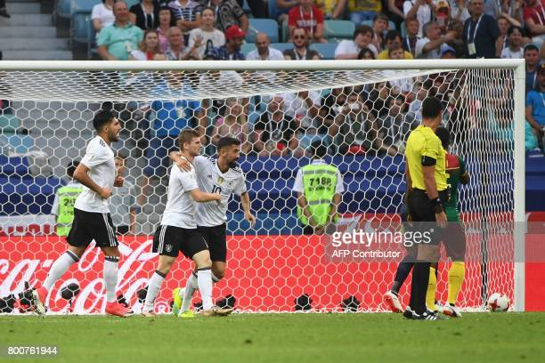 Germany's forward Timo Werner celebrates with Germany's midfielder Emre Can and Germany's midfielder Kerem Demirbay during the 2017 FIFA...