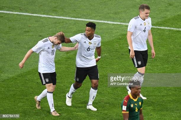 Germany's forward Timo Werner celebrates with teammates after scoring a goal during the 2017 FIFA Confederations Cup group B football match between...