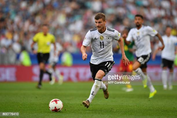 Germany's forward Timo Werner controls the ball during the 2017 FIFA Confederations Cup group B football match between Germany and Cameroon at the...