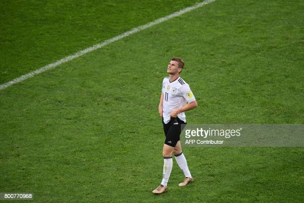 Germany's forward Timo Werner reacts during the 2017 FIFA Confederations Cup group B football match between Germany and Cameroon at the Fisht Stadium...