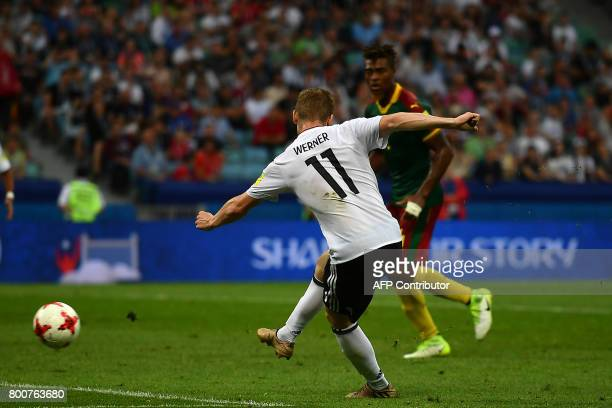 Germany's forward Timo Werner scores a goal during the 2017 FIFA Confederations Cup group B football match between Germany and Cameroon at the Fisht...