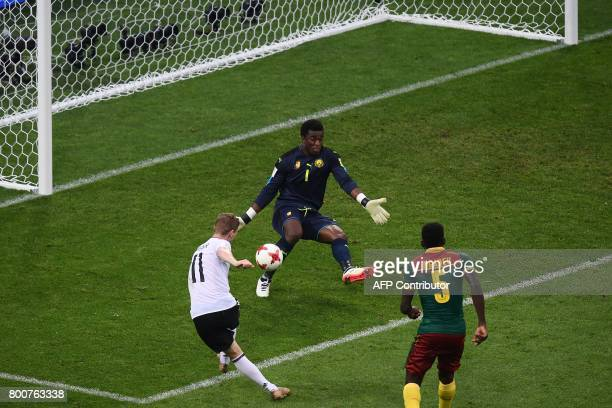 Germany's forward Timo Werner scores his team's third goal during the 2017 FIFA Confederations Cup group B football match between Germany and...