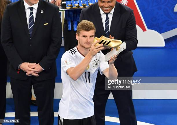 Germany's forward Timo Werner wins the Golden Boot for best scorer after Germany beat Chile 10 in the 2017 Confederations Cup final football match...