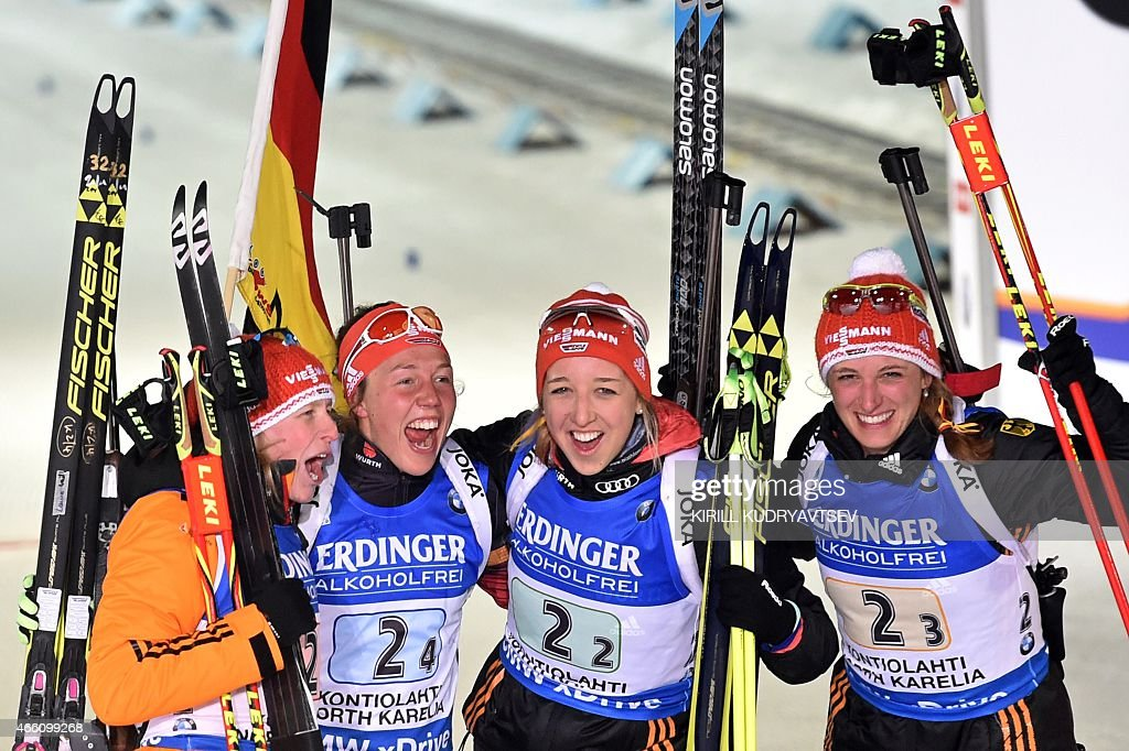 Germany's (L-R) <a gi-track='captionPersonalityLinkClicked' href=/galleries/search?phrase=Franziska+Hildebrand&family=editorial&specificpeople=7295743 ng-click='$event.stopPropagation()'>Franziska Hildebrand</a>, <a gi-track='captionPersonalityLinkClicked' href=/galleries/search?phrase=Laura+Dahlmeier&family=editorial&specificpeople=10284324 ng-click='$event.stopPropagation()'>Laura Dahlmeier</a>, Franziska Preuss and Vanessa Hinz react after the Women 4x6 Relay at the IBU Biathlon World Championship in Kontiolahti, Finland on March 13, 2014. Germany's team won the competition, France's team placed second and Italy placed third. AFP PHOTO/KIRILL KUDRYAVTSEV