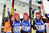 Germany's Franziska Hildebrand Laura Dahlmeier Franziska Preuss and Vanessa Hinz react after the Women 4x6 Relay at the IBU Biathlon World...
