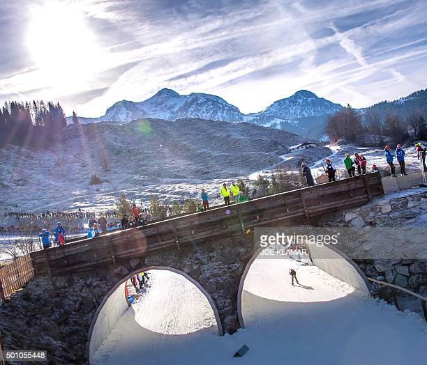 Germany's Franziska Hildebrand through a tunnel as she competes in the women's 10 km pursuit event during the IBU World Cup in biathlon in Hochfilzen...