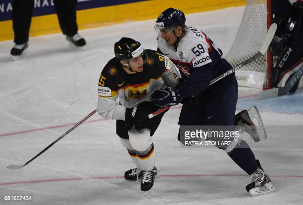 Germany´s Frederik Tiffels and Slovakia´s Andrej Stastny vie during the IIHF Ice Hockey World Championships first round match between Slovakia and...
