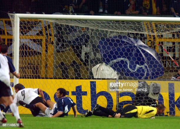 Germany's Fredi Bobic scores the opening goal against Scotland