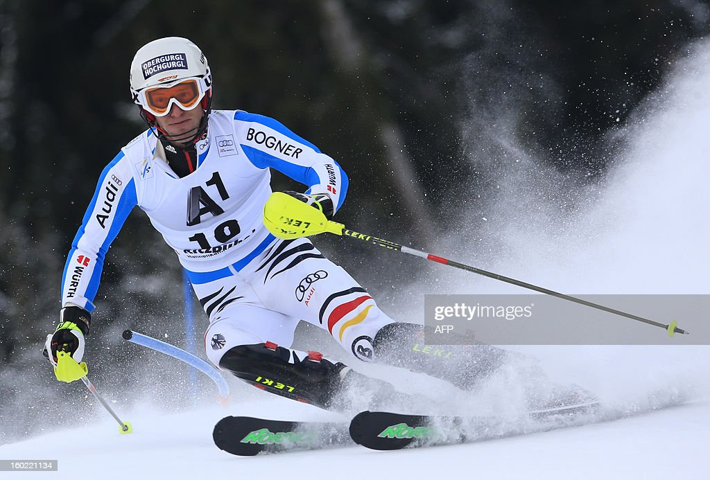 Germany's Fritz Dopfer competes during the first round of the FIS World Cup men's slalom race on January 27, 2013 in Kitzbuehel, Austrian Alps.