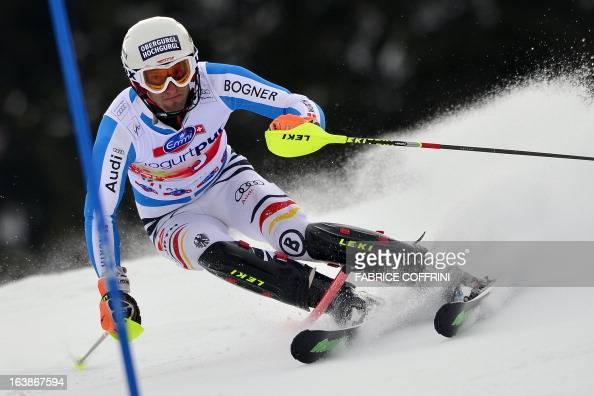 Germany's Fritz Dopfer competes during the Men Slalom race at the Alpine ski World Cup finals on March 17 2013 in Lenzerheide AFP PHOTO / FABRICE...
