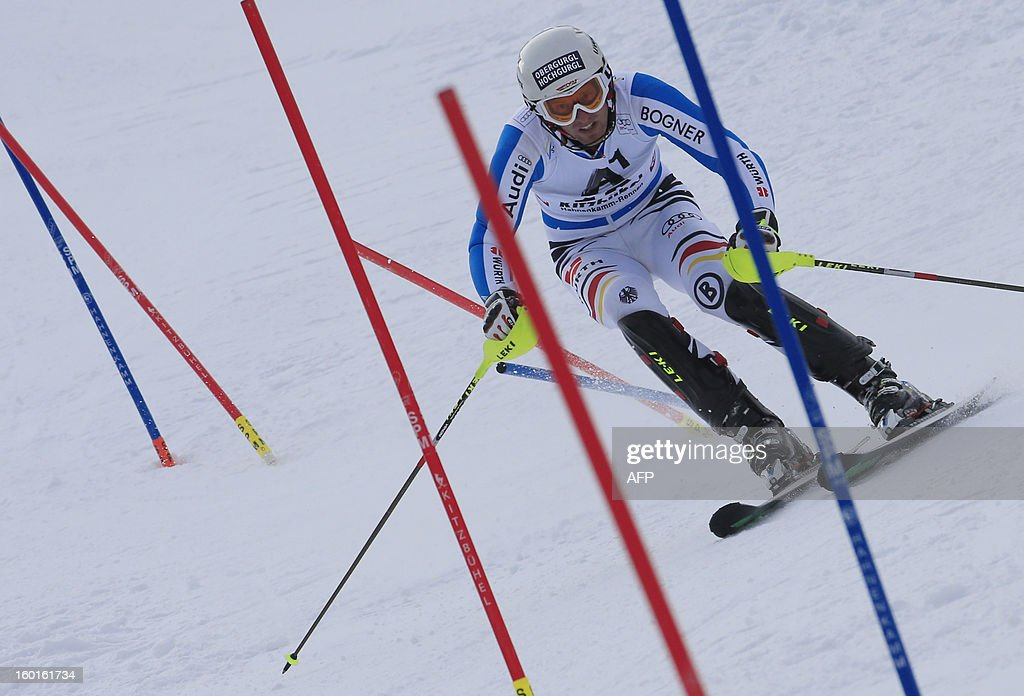 Germany's Fritz Dopfer competes during the second run of the FIS World Cup men's slalom race on January 27, 2013 in Kitzbuehel, Austrian Alps. Austrian Marcel Hirscher won the race, German Felix Neureuther placed second and Croatian Ivica Kostelic placed third.