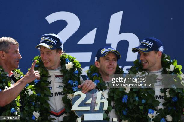 Germany's Fritz Enzinger poses with New Zealand's driver Brendon Hartley New Zealand's driver Earl Bamber and Germany's driver Timo Bernhard on the...
