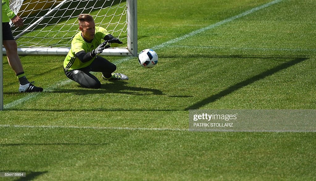 Germany's goalkeeper Andre TerStegen warms up during a training session as part of the team's preparation for the upcoming Euro 2016 European football championships, on May 26, 2016 in Ascona. / AFP / PATRIK