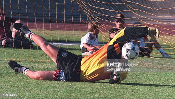 Germany's goalkeeper Andreas Kapko dives for the ball during a training session at the Green Point Stadium in Cape Town 11 December The German...