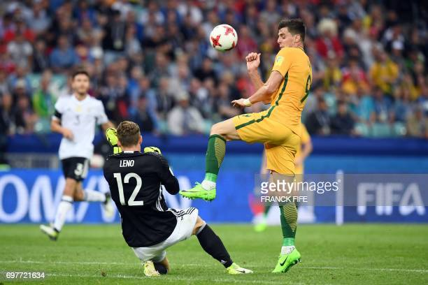 Germany's goalkeeper Bernd Leno reacts to the ball by Australia's forward Tomi Juric during the 2017 Confederations Cup group B football match...