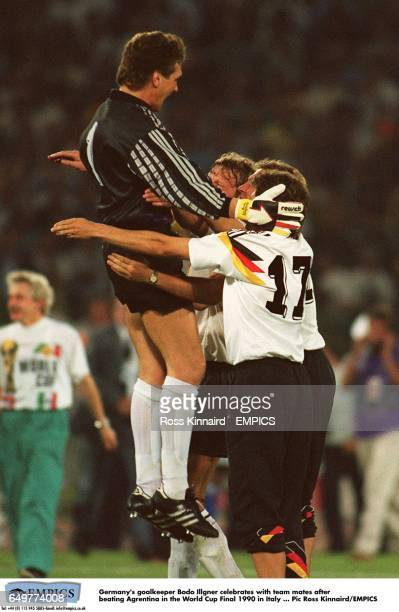 Germany's goalkeeper Bodo Illgner celebrates with team mates after beating Argentina