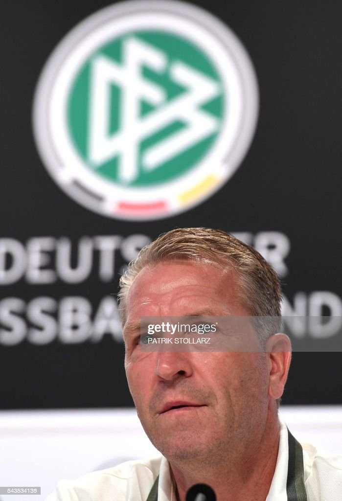 Germany´s goalkeeper coach Andreas Koepke gives a press conference at the team's training ground in Evian-les-Bains on June 29, 2016 during the Euro 2016 football tournament. / AFP / PATRIK