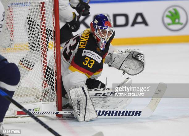 Germany´s goalkeeper Danny Aus den Birken makes a save during the IIHF Ice Hockey World Championships first round match between Slovakia and Germany...