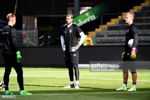 Germany's goalkeeper Kevin Trapp and Marc Ter Stegen warm up during a training session in Brondby Denmark on June 5 2017 on the eve of a friendly...