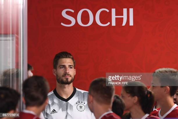 Germany's goalkeeper Kevin Trapp attends the 2017 Confederations Cup group B football match between Australia and Germany at the Fisht Stadium in...