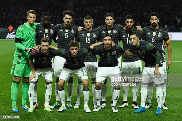 Germany's goalkeeper Manuel Neuer Germany's defender Antonio Ruediger Germany's defender Mats Hummels Germany's midfielder Toni Kroos Germany's...
