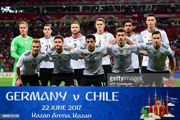Germany's goalkeeper MarcAndre Ter Stegen Germany's midfielder Sebastian Rudy Germany's defender Shkodran Mustafi Germany's defender Matthias Ginter...