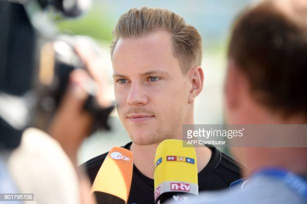 Germany's goalkeeper MarcAndre Ter Stegen speaks to the press ahead of a training session in Sochi on June 27 2017 during the 2017 FIFA...