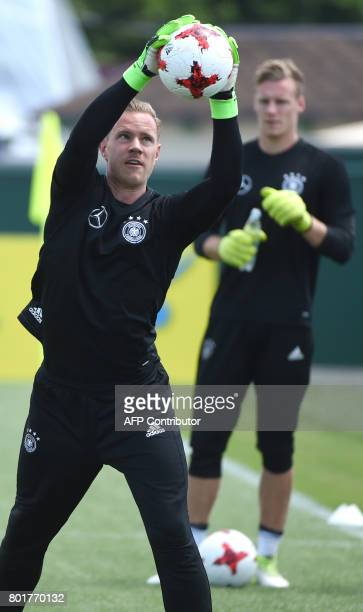 Germany's goalkeeper MarcAndre Ter Stegen takes part in a training session in Sochi on June 27 2017 during the 2017 FIFA Confederations Cup football...